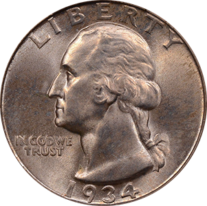 1934 Quarter Obverse