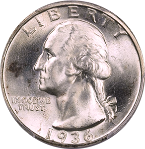 1936 Quarter Obverse