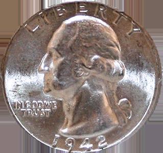 1942 Quarter Obverse